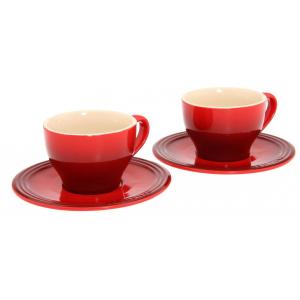 Le Creuset Koffiekopjes Met Schotel Kersenrood 200ml