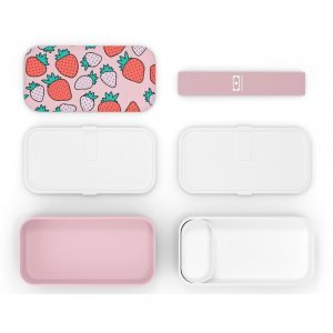 Monbento Bento Original • Lunch Box Pink Graphic Strawberry