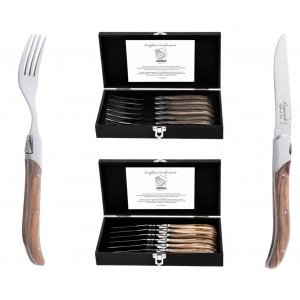 Laguiole Style de Vie Steakmessen En Vorkenset Olijfhout