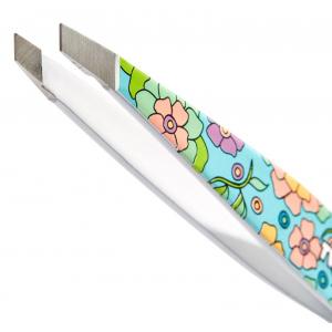 Tweezerman Mini Slant Pincet Vintage Floral Blauw