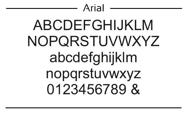 voorbeeld van arial font