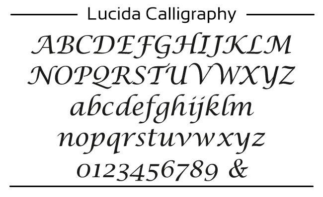 voorbeeld van Lucida Caligraphy font